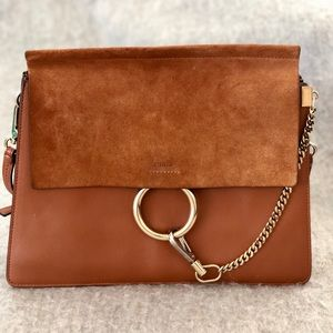 CHLOÉ medium brown Faye suede leather bag